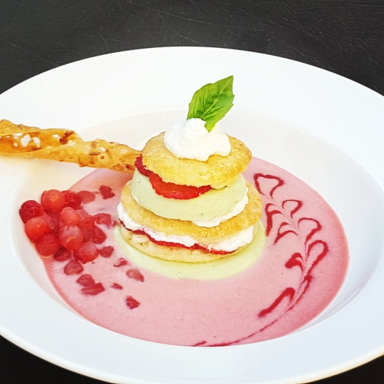 Strawberry Shortcake with Basil Panna Cotta Layers #dessert #recipe #strawberryshortcake