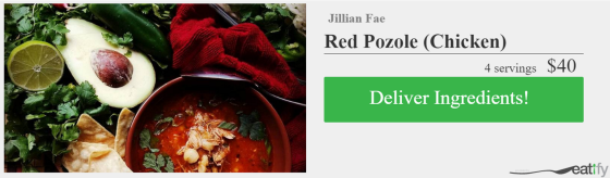 eat this button- red chicken pozole